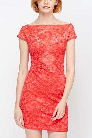 Dámske šaty čipkované Dulce - červené