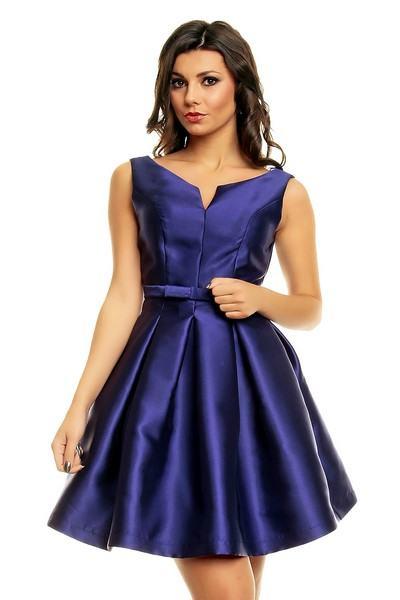 Dámske saténové modré šaty Kaiya