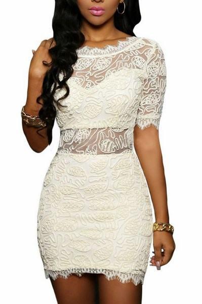 Dámske čipkované šaty Florence - biele