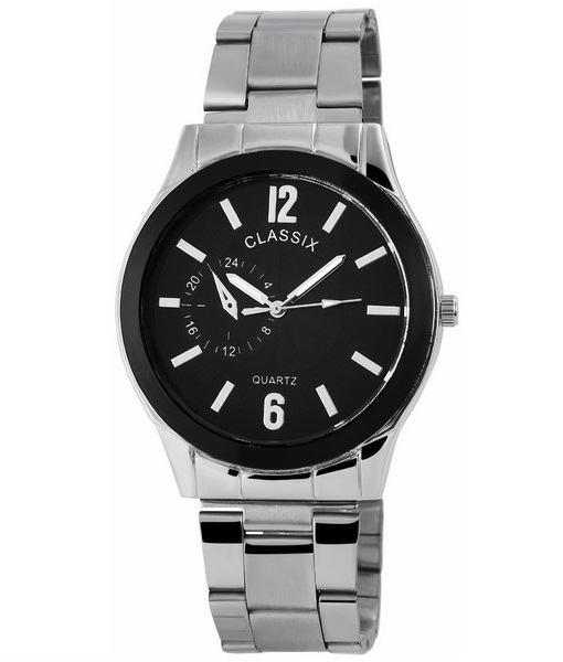Pánske kovové hodinky Classix strieborné Black