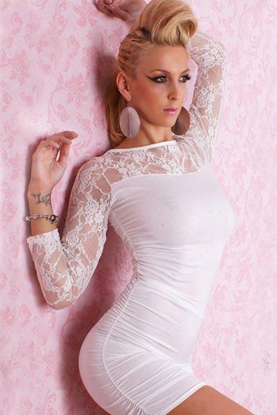 Dámske čipkované krémové šaty Nani