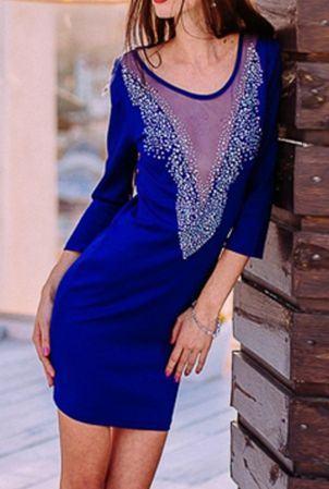 Dámske modré šaty s aplikáciou Maryl