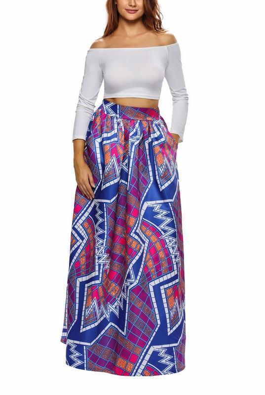 Dlhá dámska sukňa - modrofialová