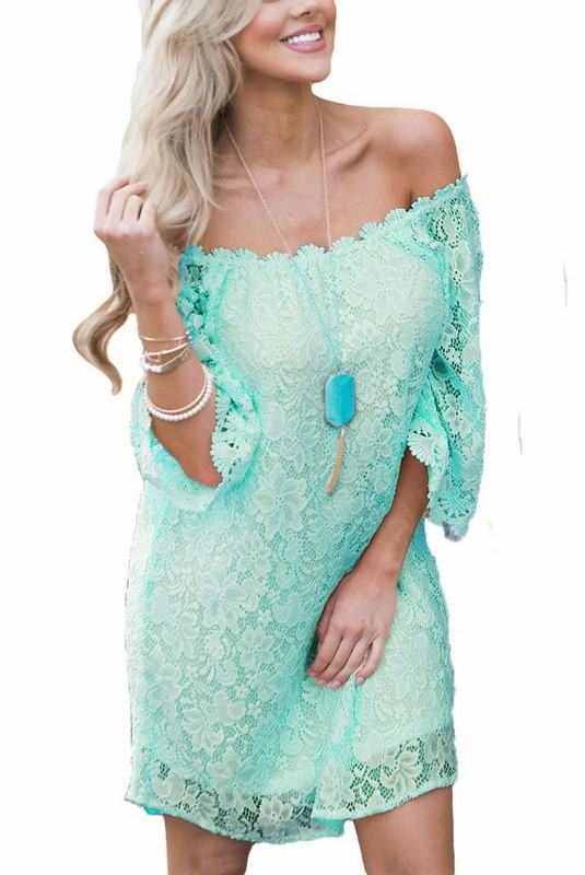 Čipkované dámske šaty Helain - mint