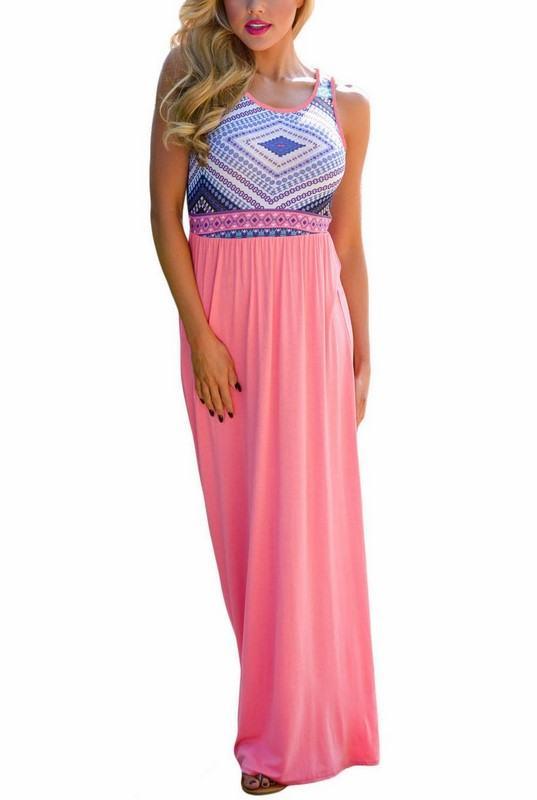 Dlhé dámske šaty Kali - light pink
