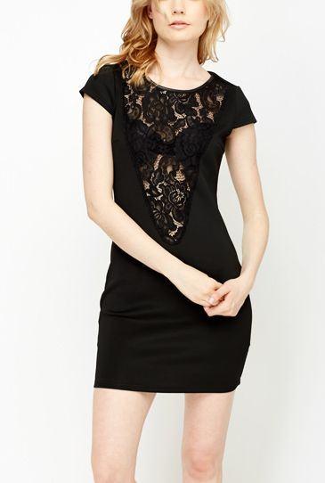 Dámske šaty Deep čierne s čipkou