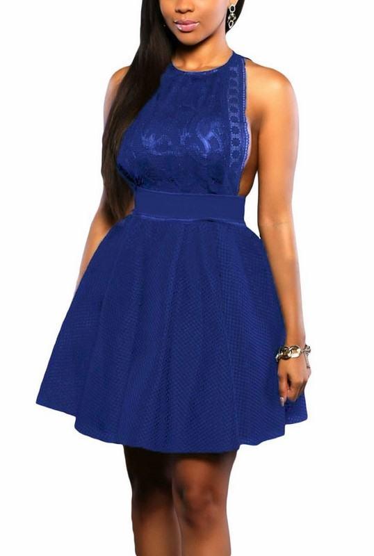 Dámske modré šaty s čipkou Evelia