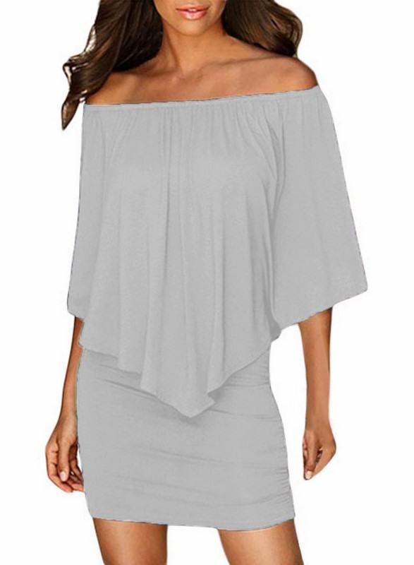 Vrstvené mini šaty Vivien - šedé