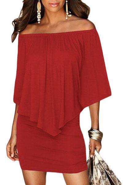 Vrstvené mini šaty Vivien - červené