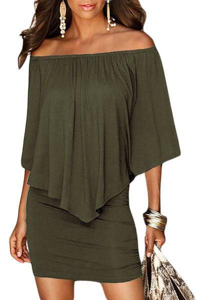 Vrstvené mini šaty Vivien - zelené