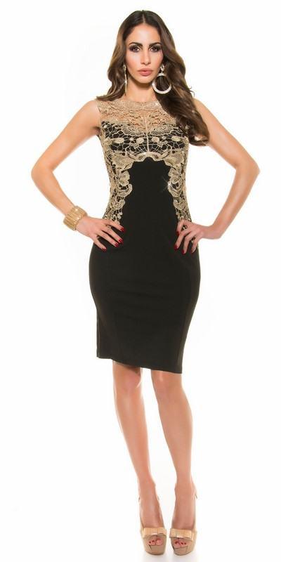 Dámske trendy šaty s aplikáciou Gabriella - čierne