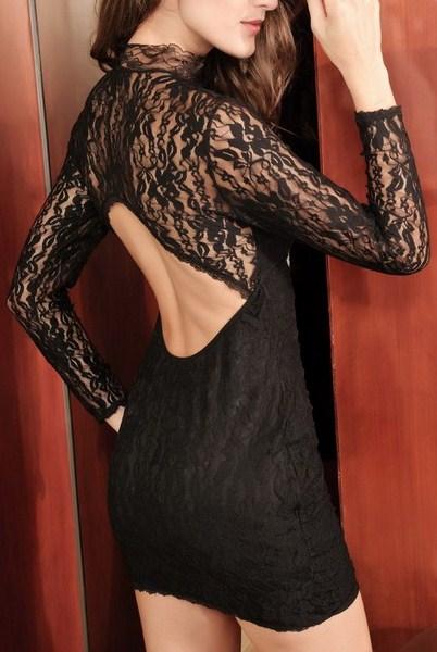 Čipkované čierne šaty Eva
