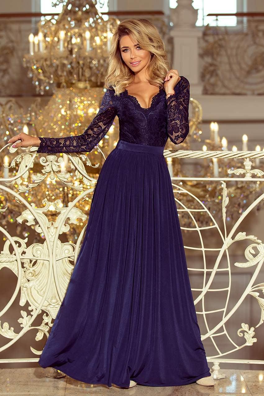 Dámske dlhé spoločenské modré šaty CARINA 214-1