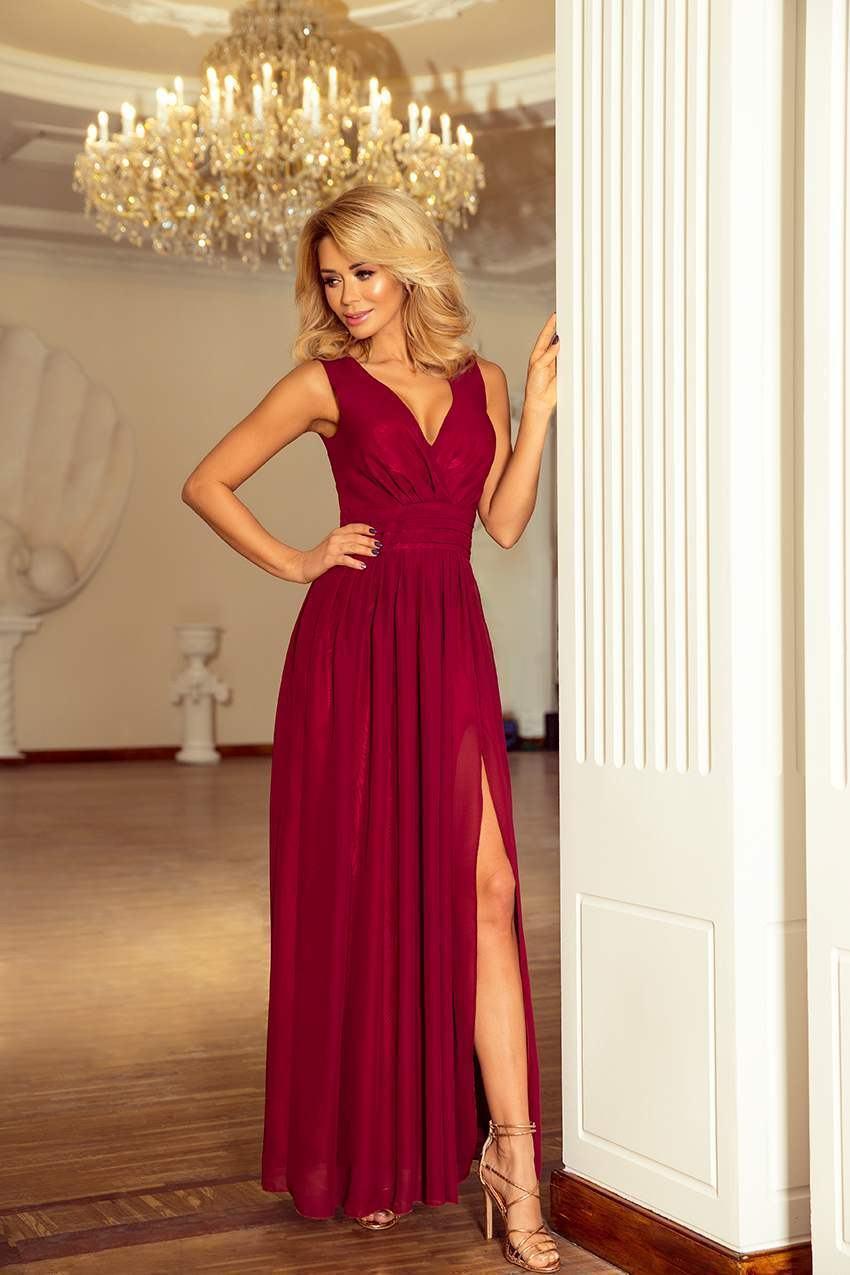Krásne spoločenské šaty Bona burgundy 166-3