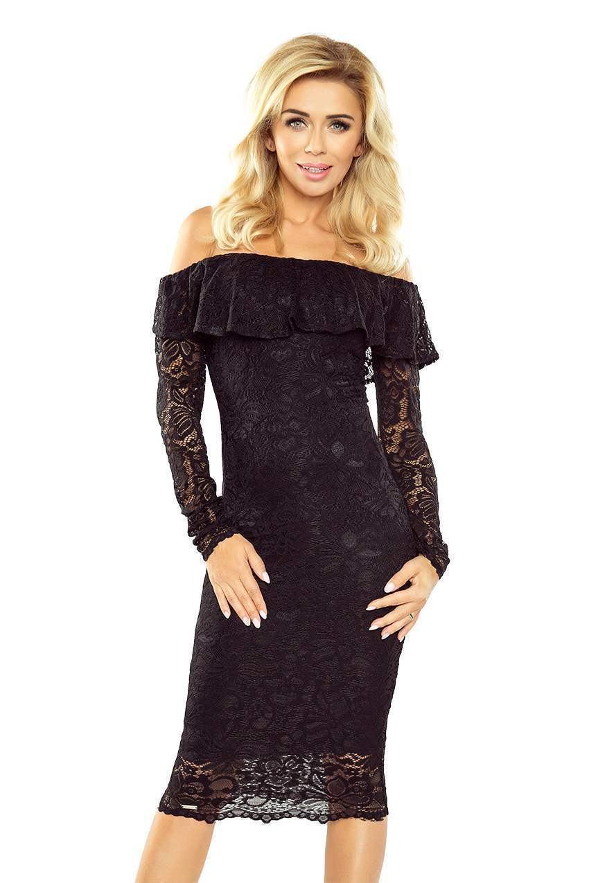 Čipkované dámske šaty Emily čierne MM 021-1