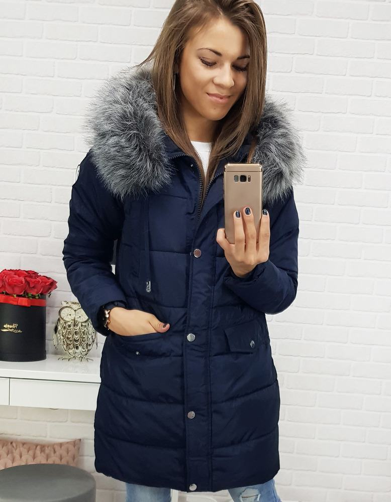 Štýlová zimná dámska bunda - tmavo modrá vty0355