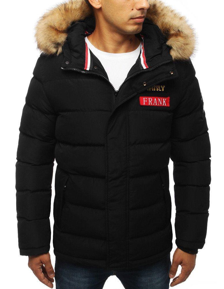 Teplá čierna pánska zimná bunda tx2947