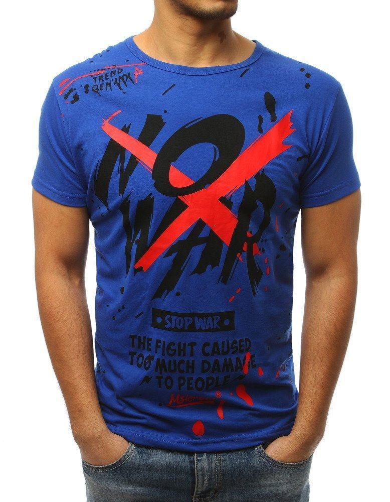 Trendové pánske tričko modré s potlačou rx3065