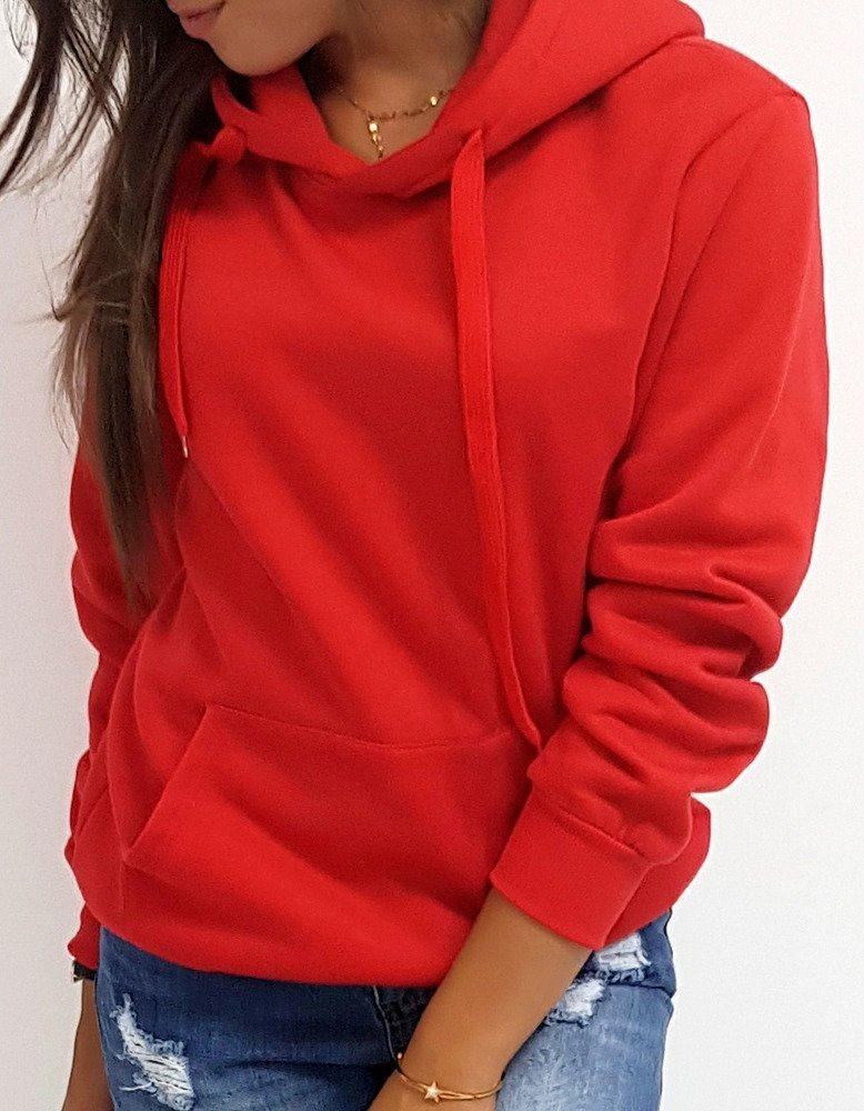 Dámska mikina červená s kapucňou by0175