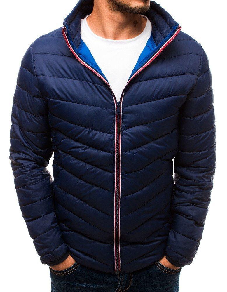 Pánska prechodná modrá bunda bez kapucne tx2734