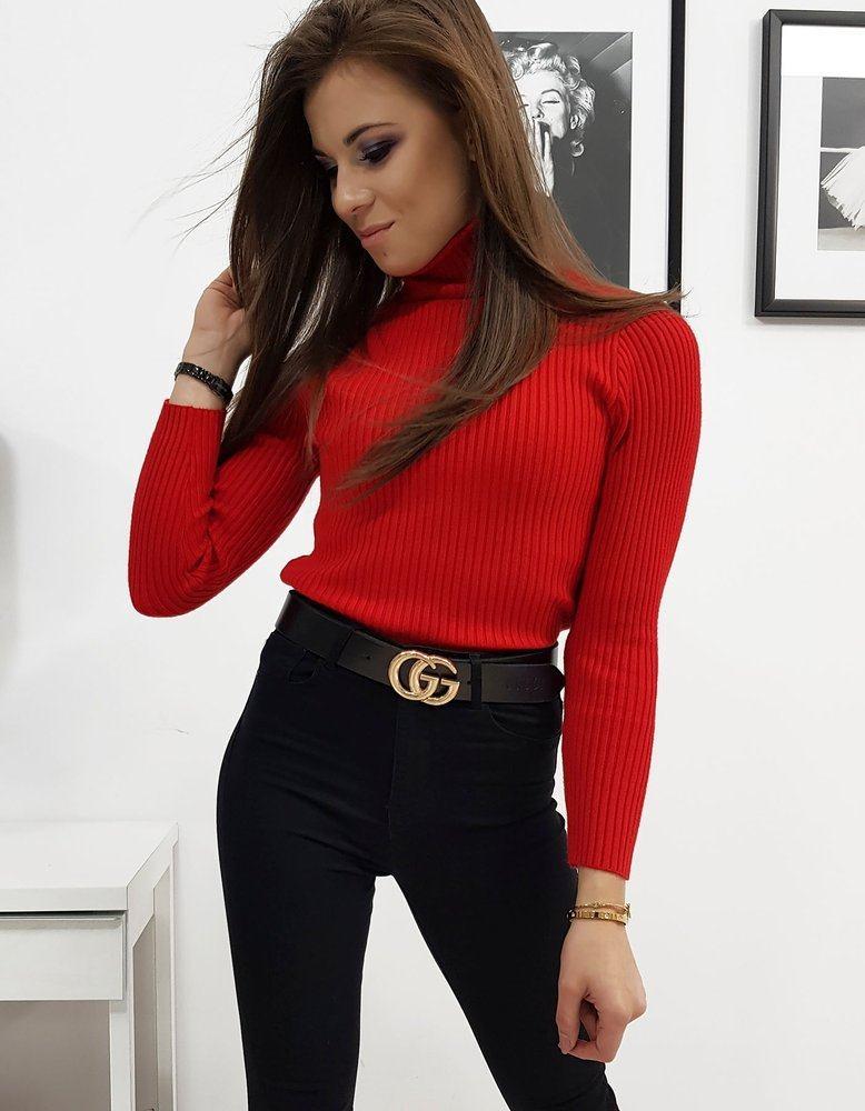 Dámsky červený rolákový sveter my0710