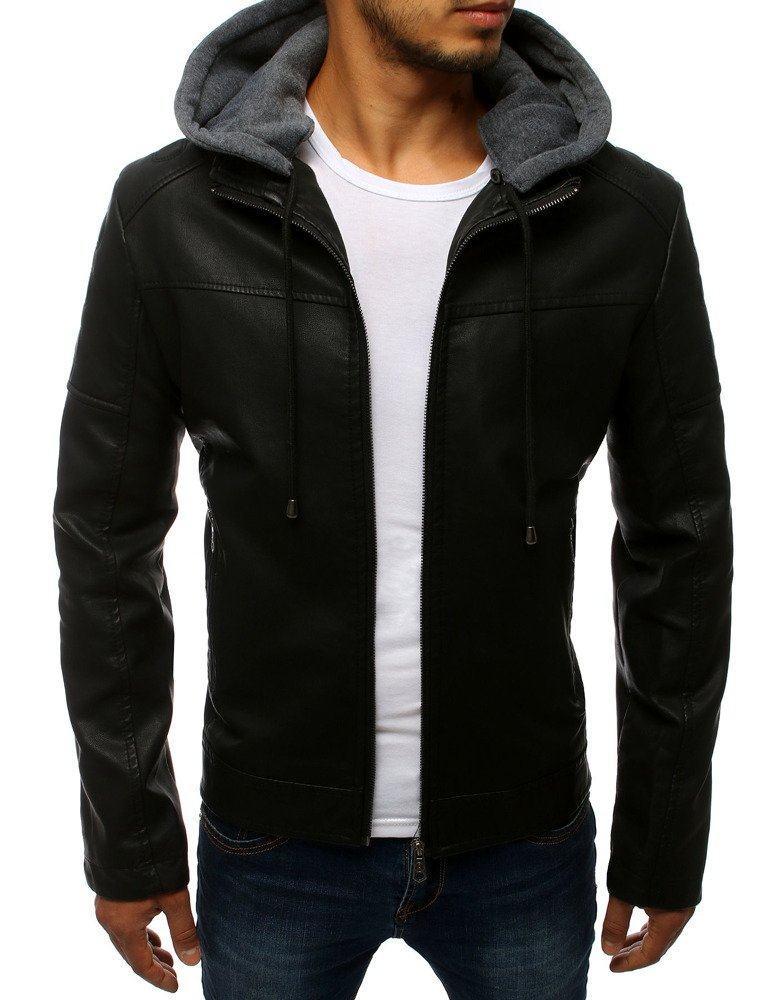 Pánska kožená čierna bunda s kapucňou tx2783