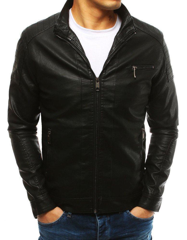 Pánska čierna kožená bunda tx2631