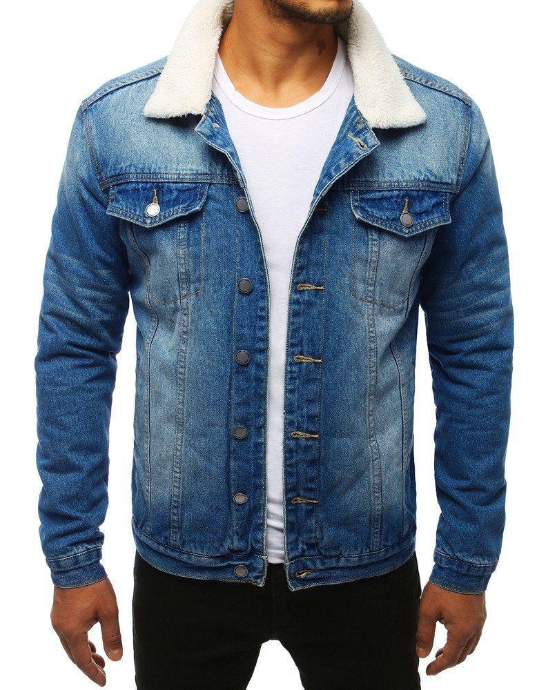 Pánska zateplená modrá rifľová bunda tx2832