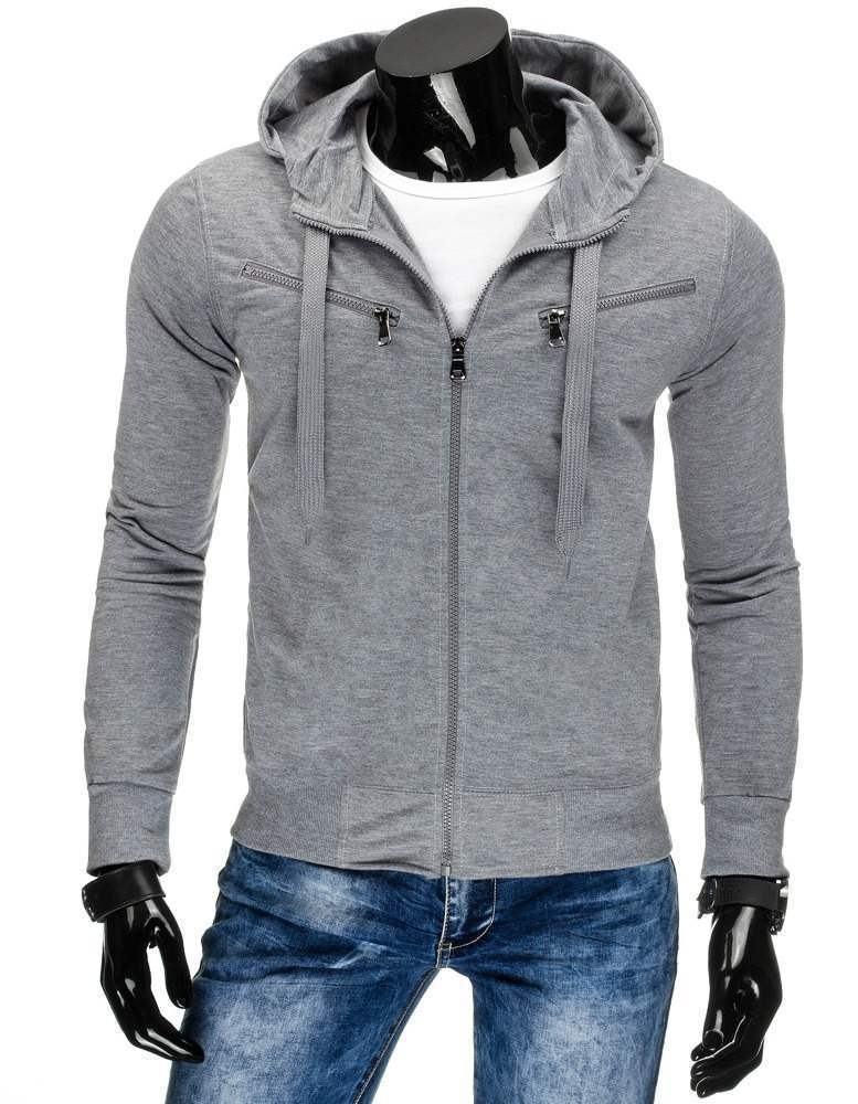 Sivá pánska mikina na zips bx2257