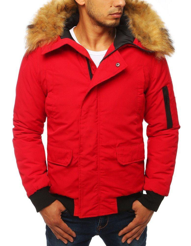 Pánska krátka červená zimná bunda tx2875