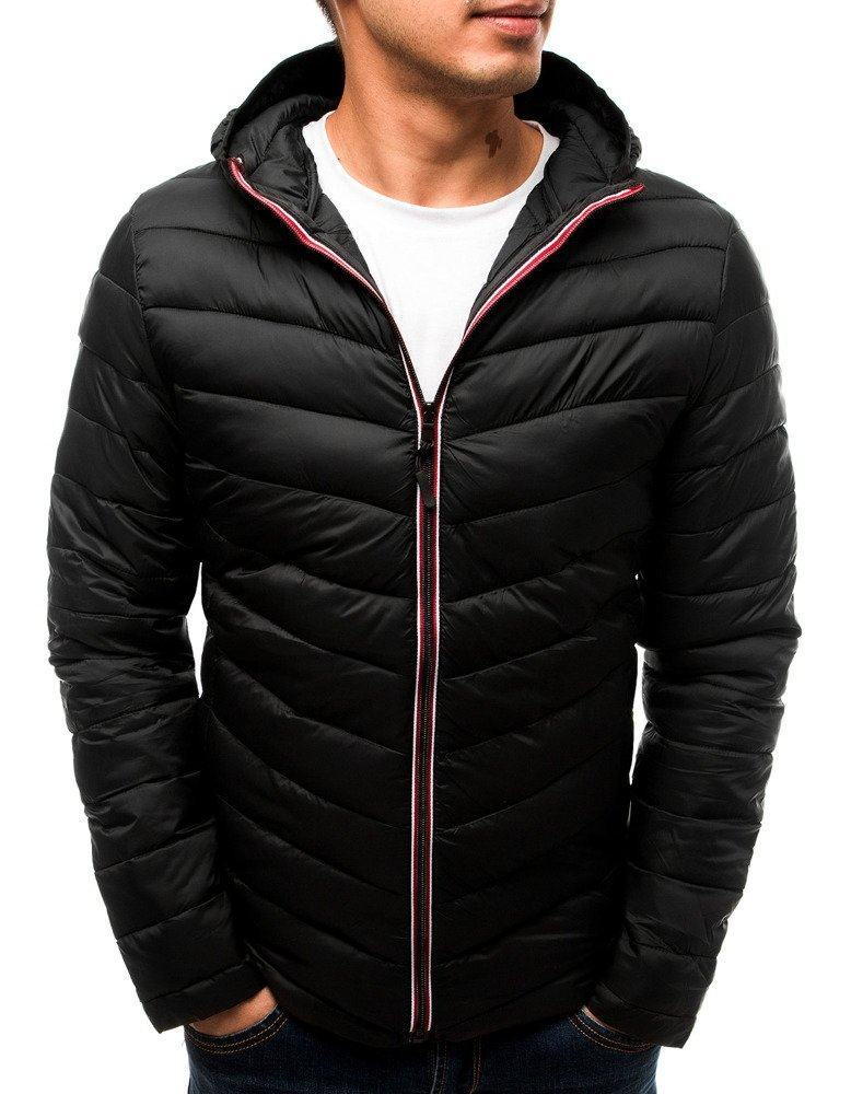 Čierna prechodná pánska bunda s kapucňou tx2715
