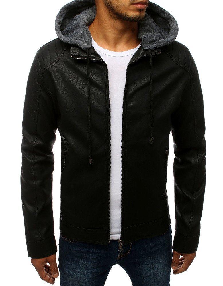Pánska čierna kožená bunda s kapucňou tx2784
