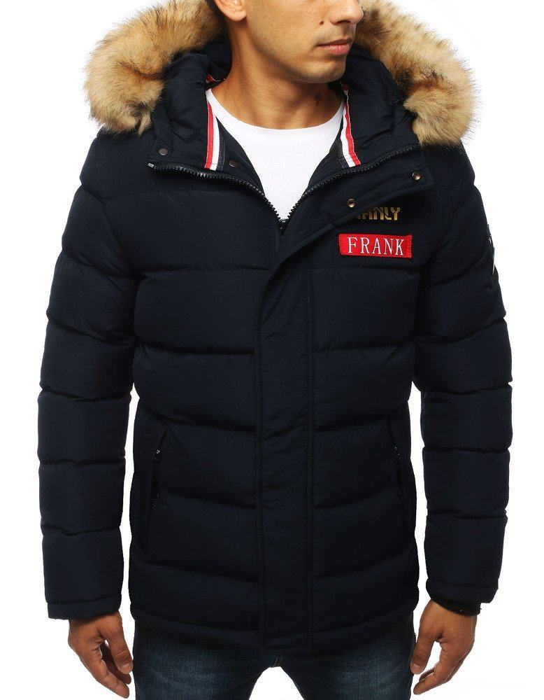 Teplá modrá pánska zimná bunda tx2948