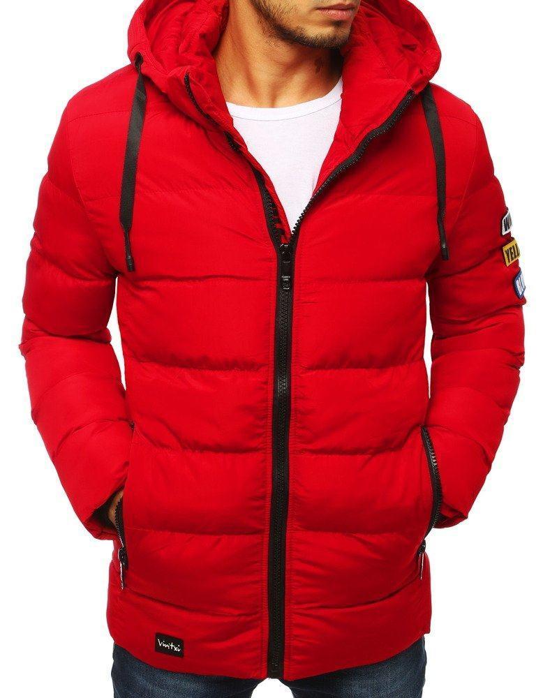 Prešívaná pánska moderná červená bunda tx2951