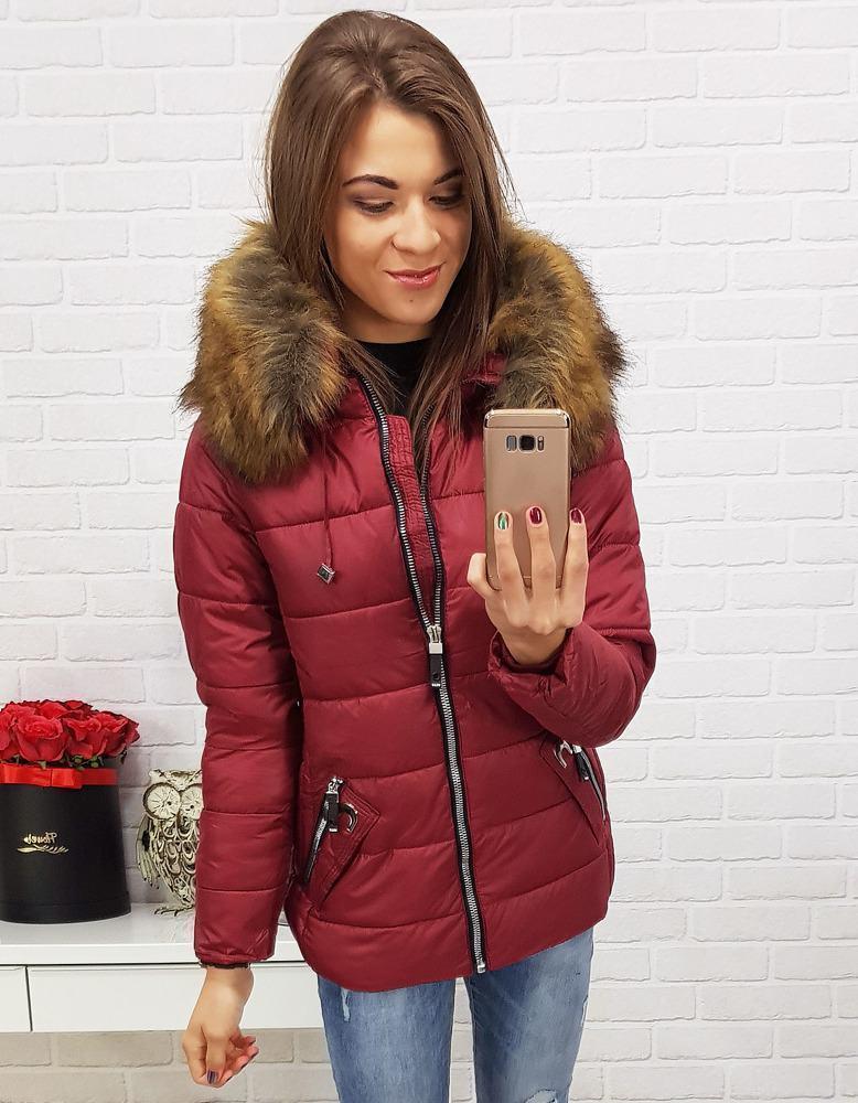 Trendová zimná dámska bunda - červená ty0418