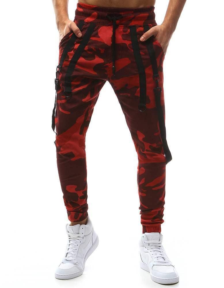 Netradičné pánske joggery Leone maskáčové červené vux1129