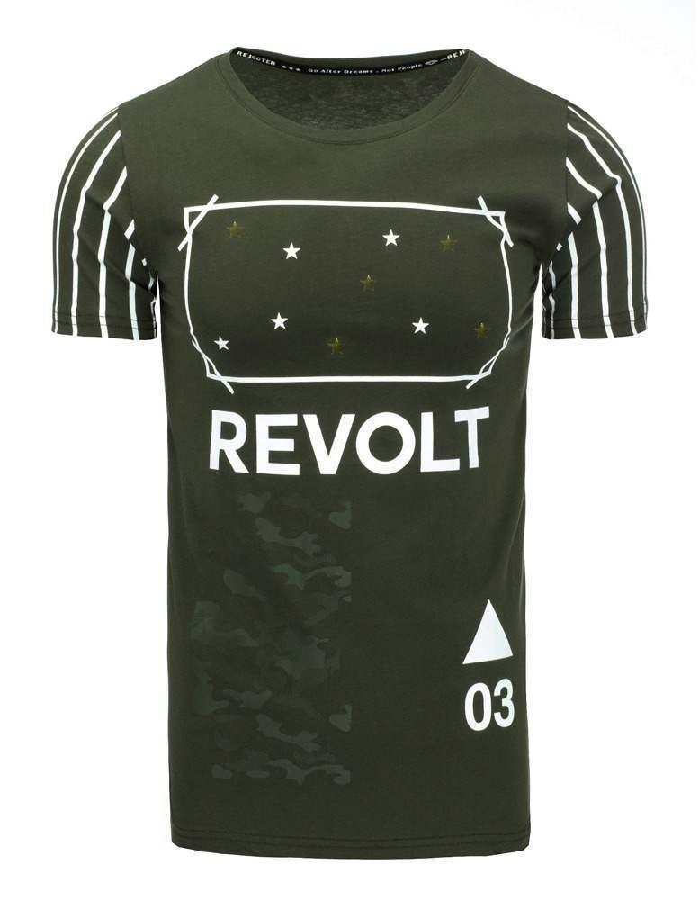 Štýlové khaki pánske tričko rx1956