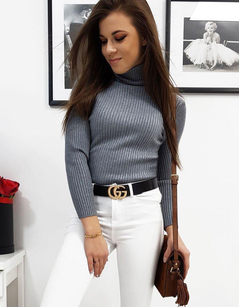 Dámsky sivý rolákový sveter my0714